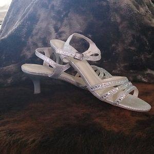David's Bridal low heeled sandals
